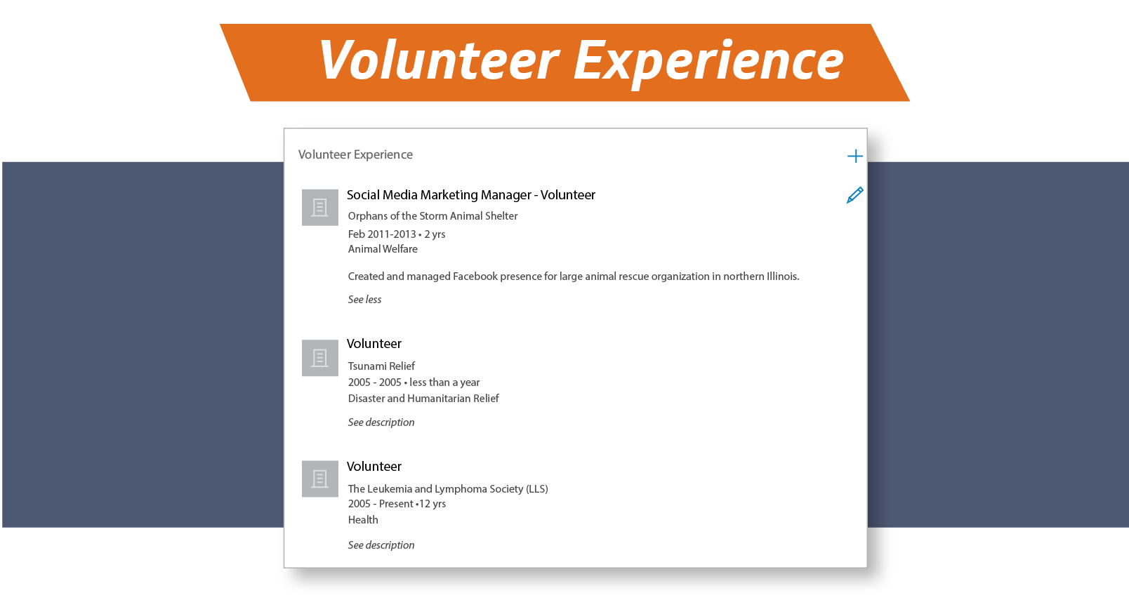 Volunteer experience on LinkedIn
