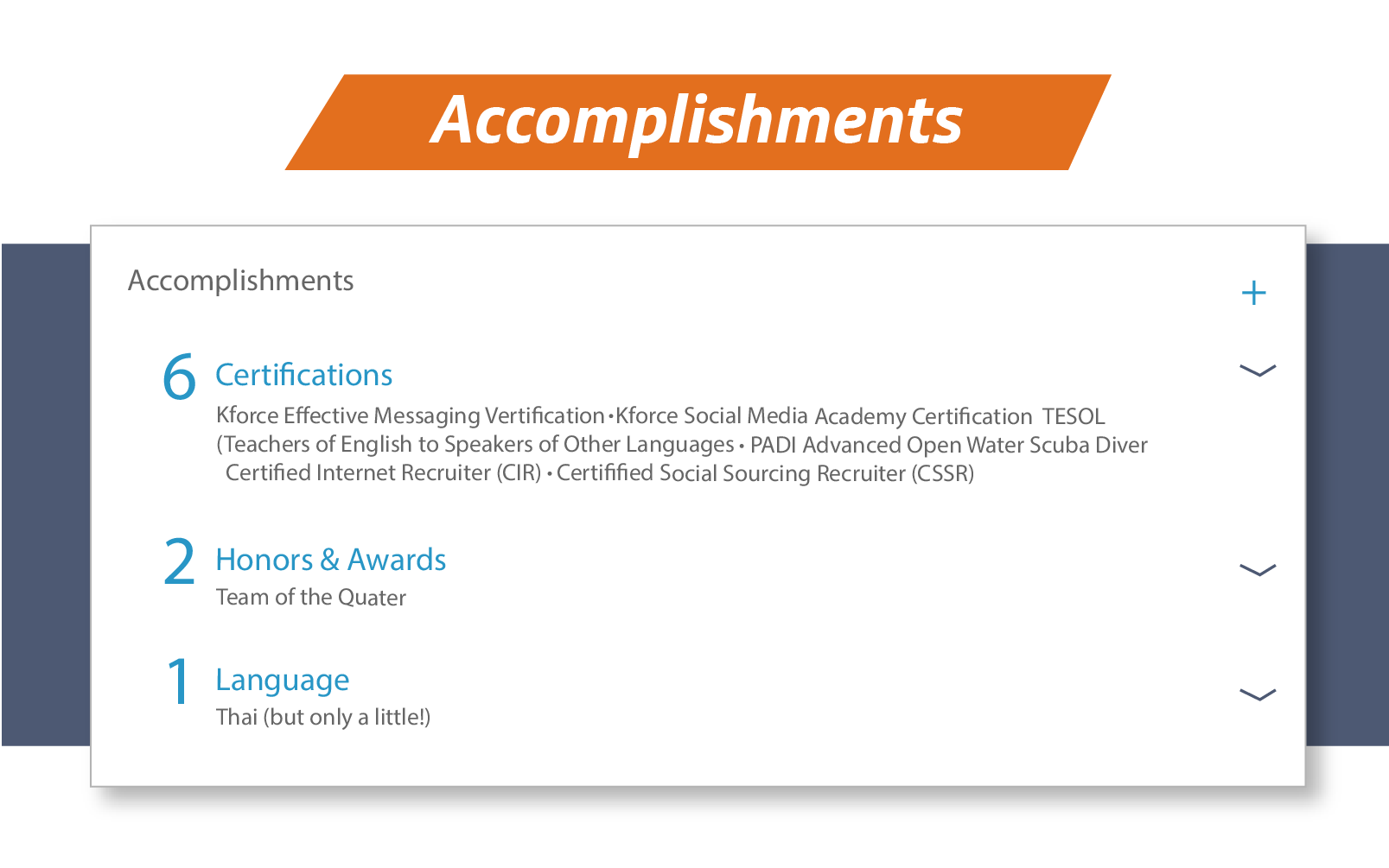 Accomplishments on LinkedIn
