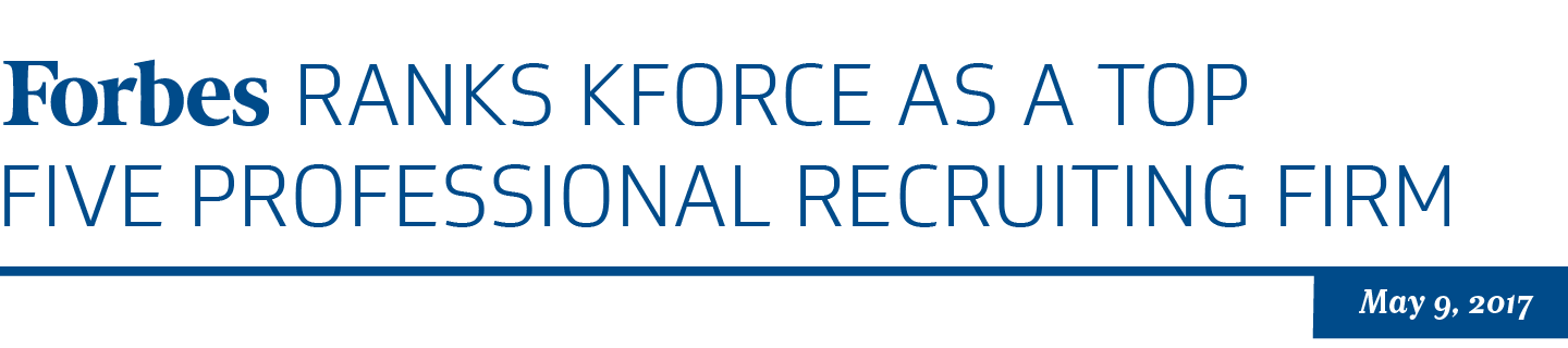 Kforce wins top 5 professional recruiting firm!