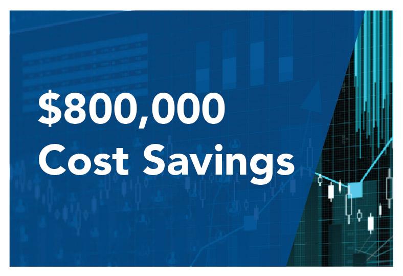 $800,000 Cost Savings
