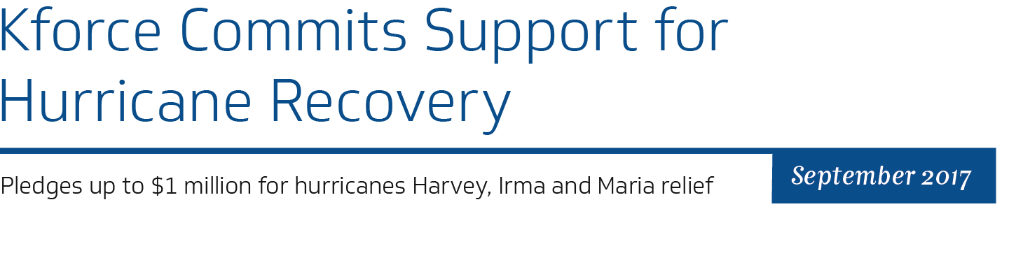 Kforce commits support for hurricane recovery