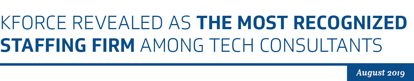 Kforce revealed as the most recognized staffing firm among tech consultants