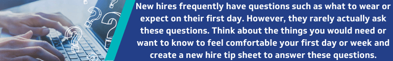 Send a new hire tip sheet before the first day